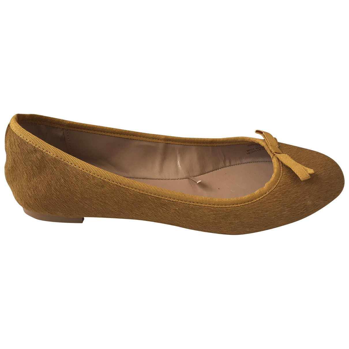 Zara - Ballerines   pour femme en veau facon poulain - jaune