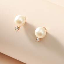 Faux Pearl Decor Stud Earrings