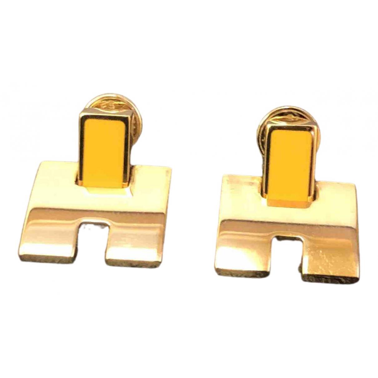 Hermes - Boucles doreilles   pour femme en plaque or - jaune