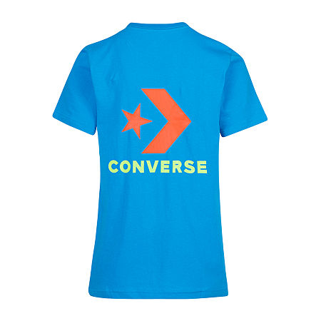 Converse Big Boys Crew Neck Short Sleeve Graphic T-Shirt, Small (8) , Blue