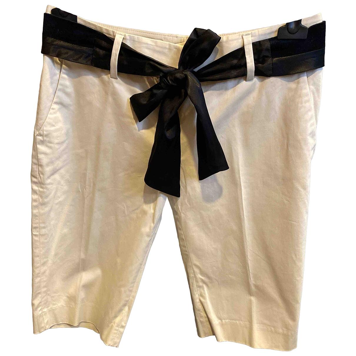 Massimo Dutti - Short   pour femme en coton - ecru