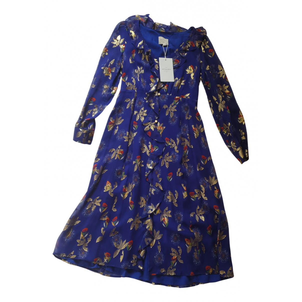 Sézane Spring Summer 2020 Blue Silk dress for Women 36 FR
