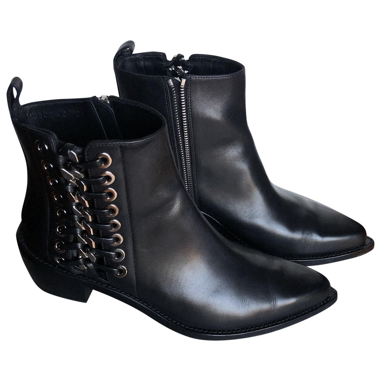 Alexander Mcqueen \N Black Leather Ankle boots for Women 40 EU