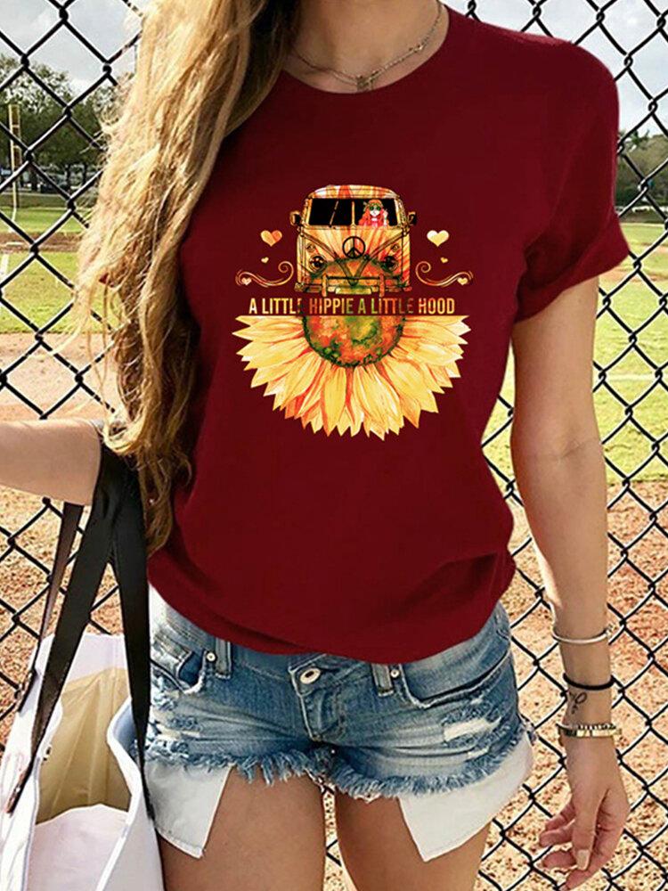 Flower Car Print Short Sleeve O-neck T-shirt For Women