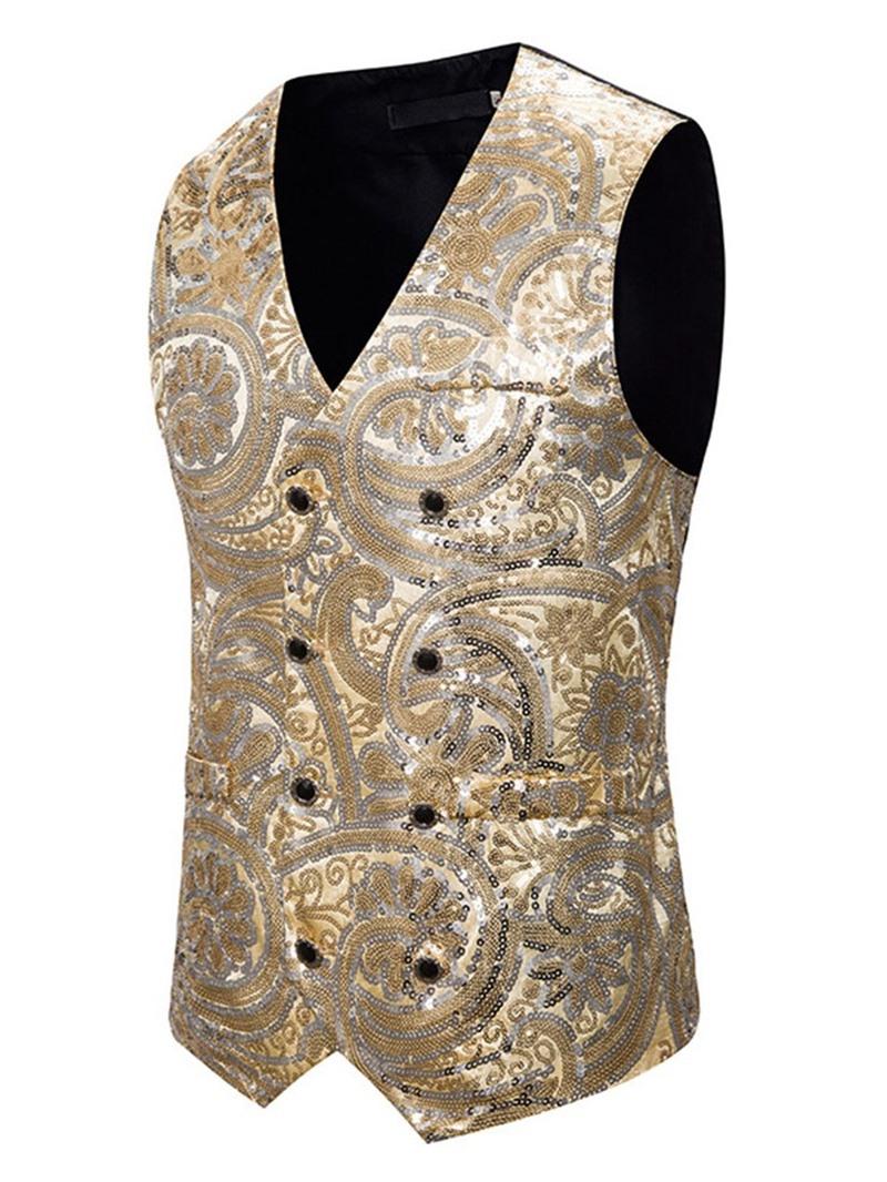 Ericdress V-Neck Sequins Color Block Casual Men's Waistcoat