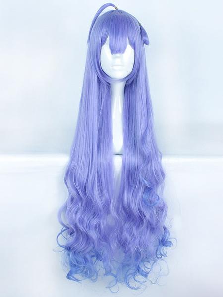 Milanoo Halloween Carnaval Peluca rizada cosplay purpura larga de la muchacha de Anime Kawii