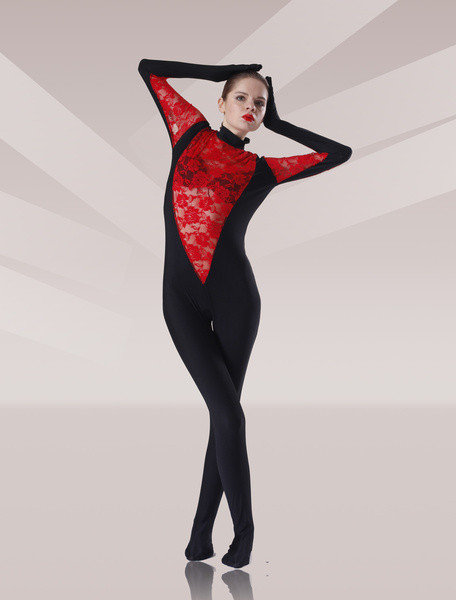 Milanoo Black And Red Tulle Flower Design Lycra Spandex Catsuit