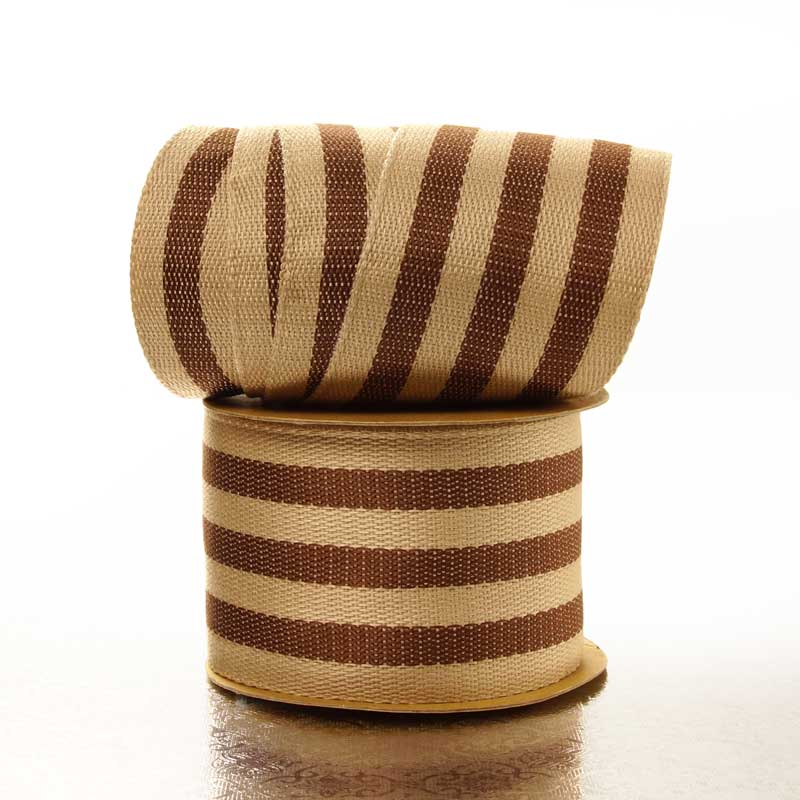 """1-½"""" X 10 Yards Brown Wide Stripe Faux Burlap Ribbon by Ribbons.com"""