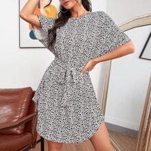 Leopard Print Curved Hem Belted Dress