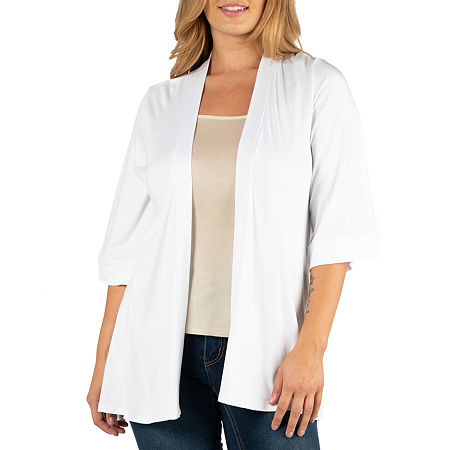 24/7 Comfort Apparel Open Front Elbow Sleeve Cardigan - Plus, 4x , White