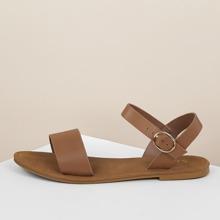 Sandalia plana con banda con tira de tobillo con cabestrillo trasero de color marron