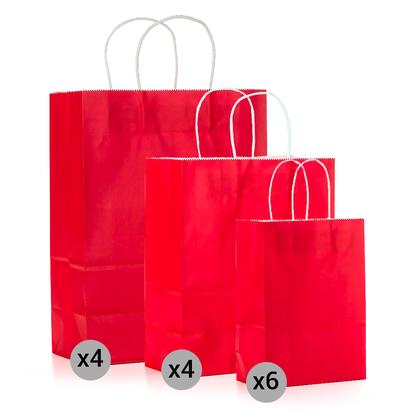 Ensemble de 14 sacs de papier kraft , petits, moyens et grands formats, rouge - LIVINGbasics ™