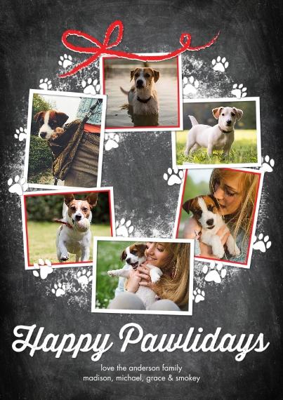 Holiday Photo Cards Flat Glossy Photo Paper Cards with Envelopes, 5x7, Card & Stationery -Holiday Happy Pawlidays Wreath by Tumbalina