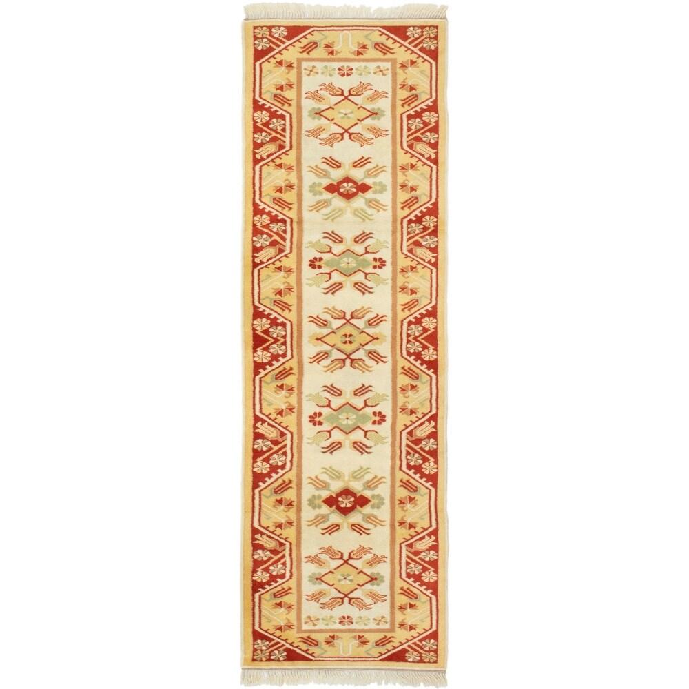 ECARPETGALLERY Hand-knotted Ushak Cream, Dark Copper Wool Rug - 2'7 x 9'4 (Cream/ Dark Copper - 2'7 x 9'4)