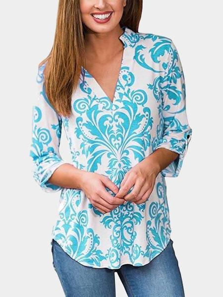 Yoins Light Blue Random V-neck Long Sleeves Curved Hem Blouses