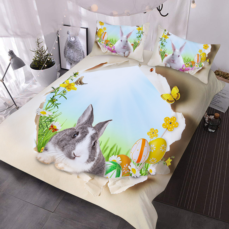 3D Rabbit and Easter Egg 3-Piece Lightweight Comforter Durable Washable Comforter Set with 2 Pillow Shams