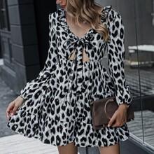 Frill Trim Tie Front Cut-out Ruffle Hem Leopard Dress