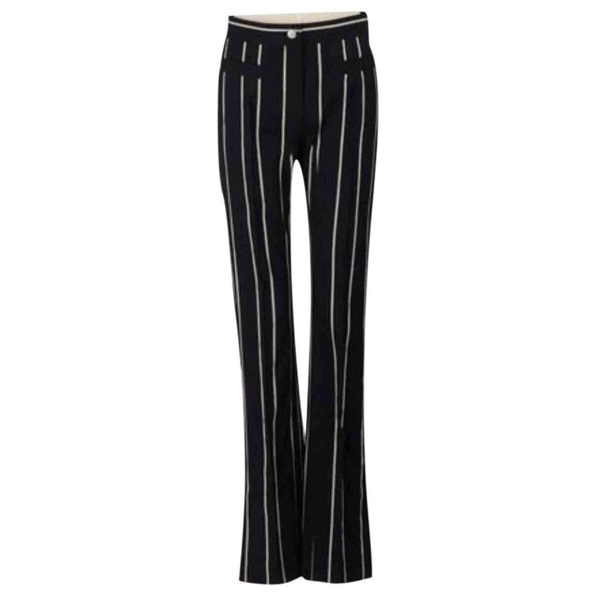 Celine \N Black Cotton Trousers for Women 38 FR