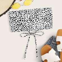 Dalmatian Print Lace-up Back Bandeau Bikini Top