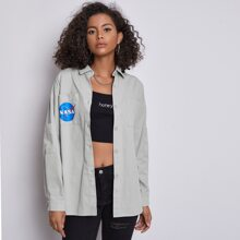 Letter Graphic Button Front Shacket