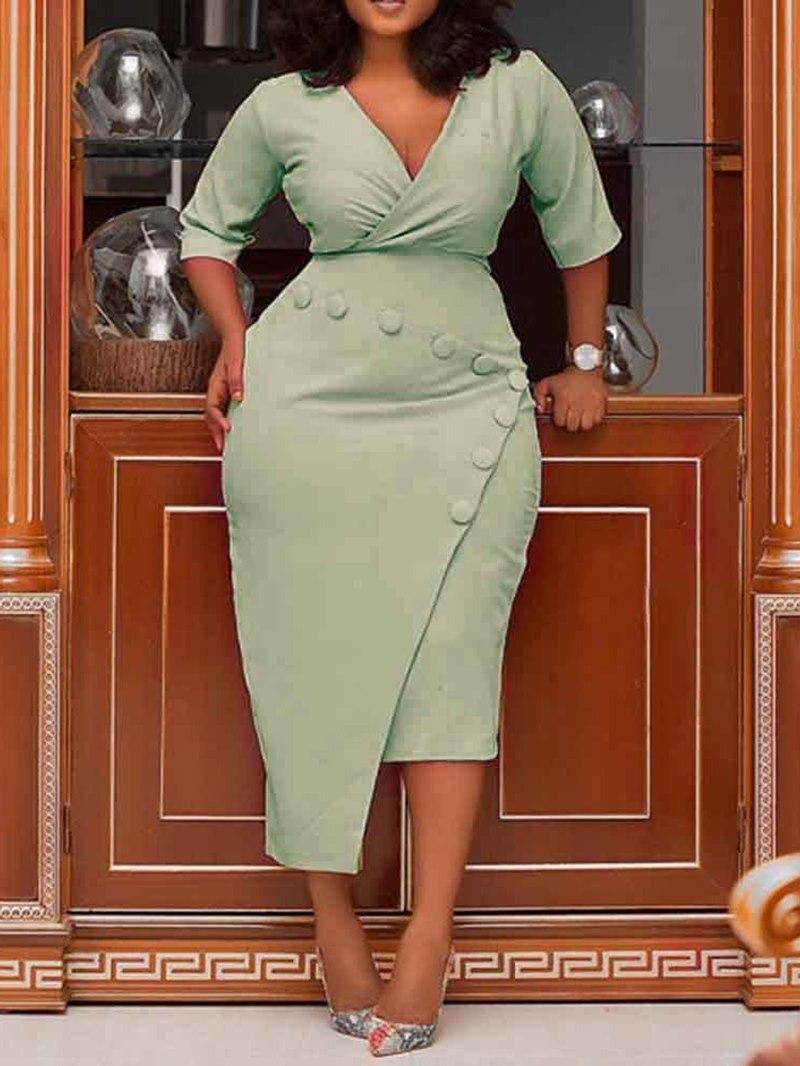 Ericdress Bodycon Asymmetric Half Sleeve High Waist Plain Dress