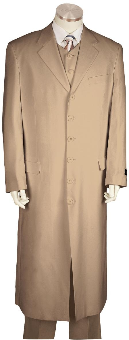 6 Button Khaki Long Zoot Suit Mens