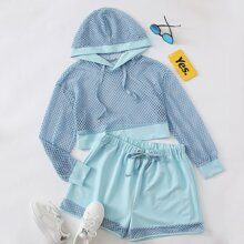 Plus Fishnet Sheer Hoodie With Track Shorts