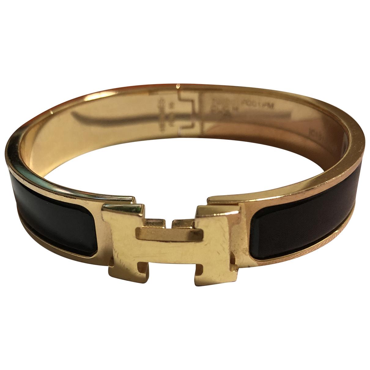 Hermes - Bracelet Clic H pour femme en or jaune - noir