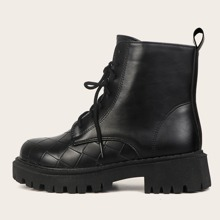 Braided Embossed Lace-up Front Combat Boots