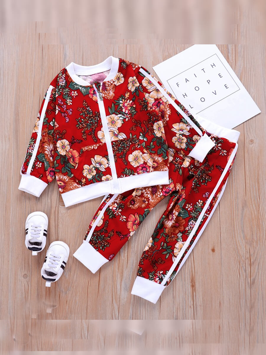 LW Lovely Trendy Plants Print Patchwork Red Girl Two-piece Pants Set