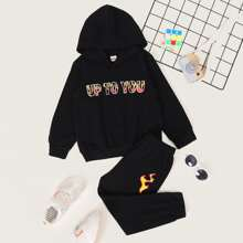 Toddler Boys Slogan Graphic Hoodie & Sweatpants