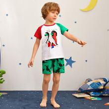 Schlafanzug Set mit Dinosaurier Muster