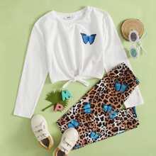 Conjunto camiseta con estampado de mariposa con cordon delantero con pantalones de leopardo