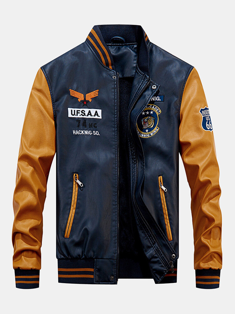 Mens Autumn Cool Handsome Stand Collar Long Sleeve Bomber Jacket
