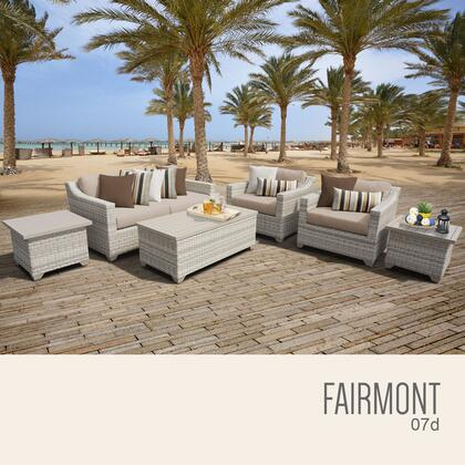 FAIRMONT-07d-WHEAT Fairmont 7 Piece Outdoor Wicker Patio Furniture Set 07d with 2 Covers: Beige and