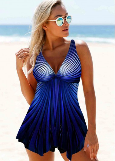 Wide Strap Printed Royal Blue Swimdress and Shorts - 20
