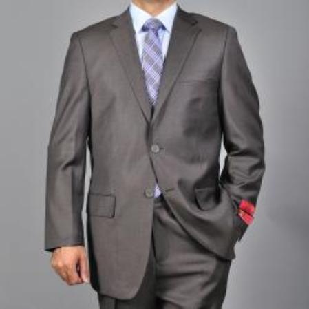 Mens Textured Brown 2button Wool Suit