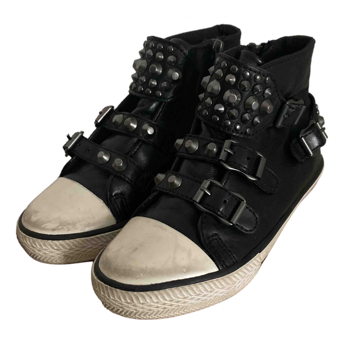 Ash N Black Leather Trainers for Kids 29 FR