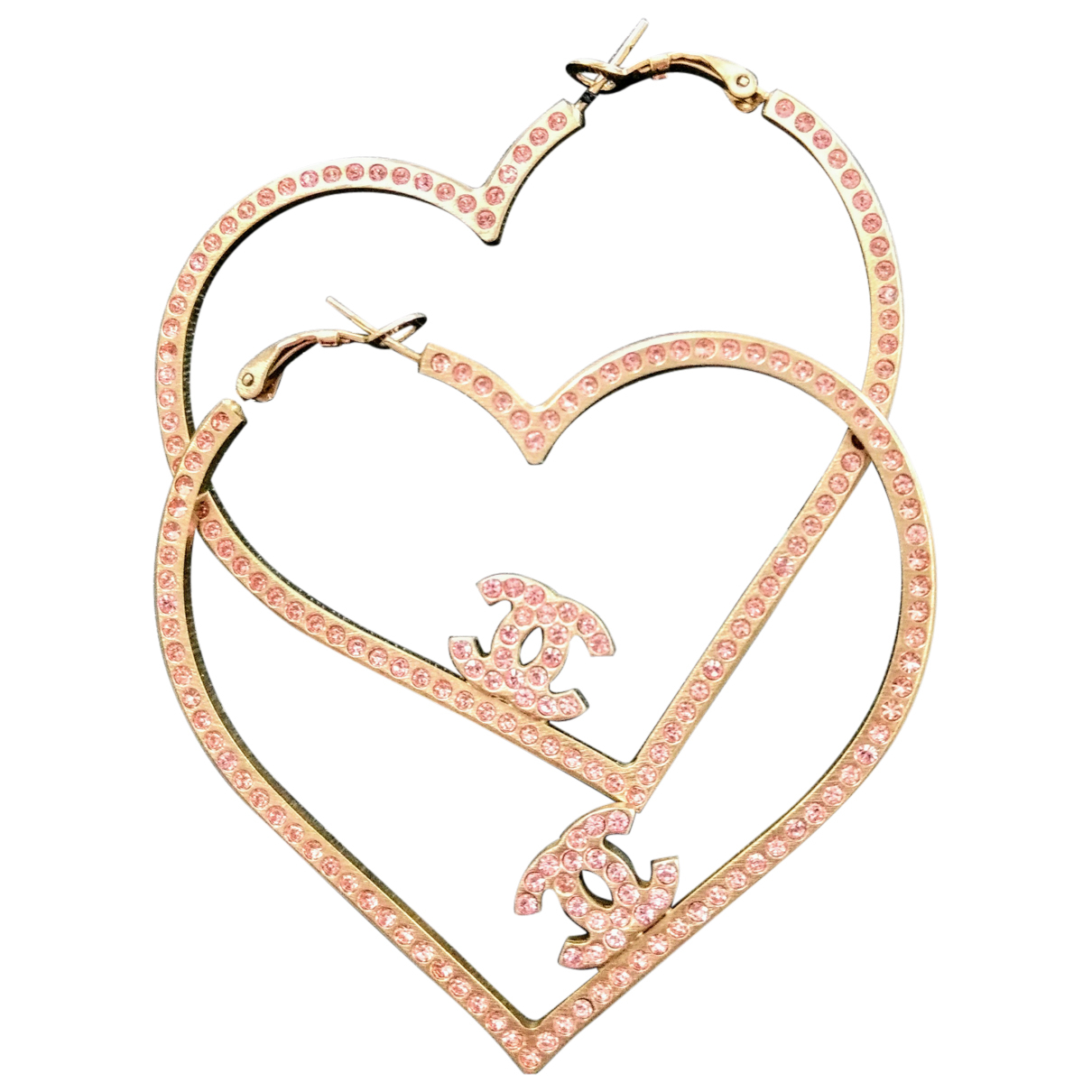 Chanel - Boucles doreilles CC pour femme en or rose - rose