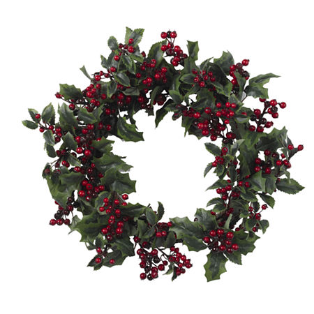 Nearly Natural 24in Holly Berry Indoor Christmas Wreath, One Size , Green