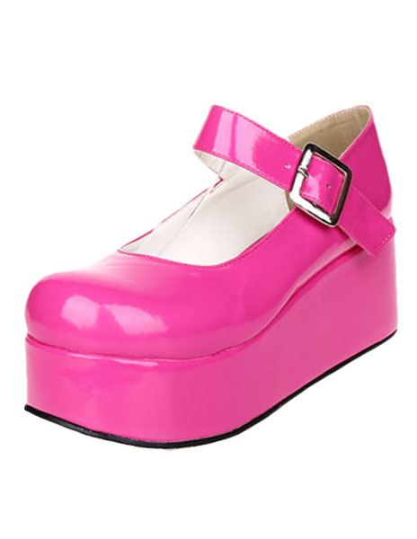 Milanoo Sweet Glossy Lolita High Platform Shoes Ankle Strap Buckle Round Toe