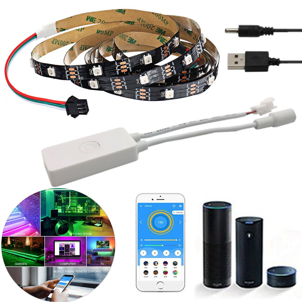 Non-waterproof WS2812 1M/2M Smart LED Strip Light+DC5-24V SP501E Controller Work White Alexa Google Assistant