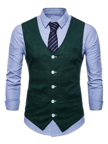 Milanoo Men Suit Vest V Neck Cotton Linen Pocket Regular Fit Casual Waistcoat