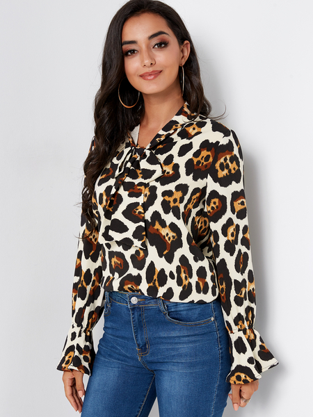 Yoins Leopard Self-tie Neck Long Bell Sleeves Blouse