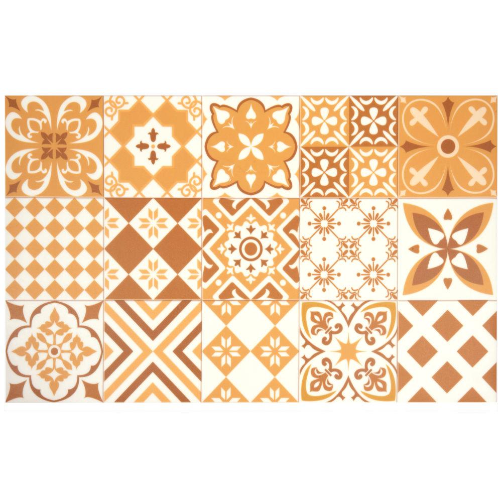 Vinyl-Teppich mit Zementfliesen-Motiven, ocker und weiss 50x80