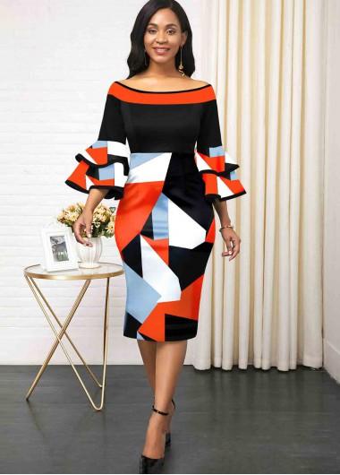 Black Dresses Flare Sleeve Print Color Block Dress - 10