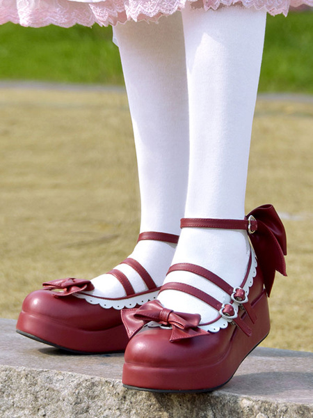 Milanoo Sweet Lolita Pumps Burgundy Bows Round Toe Flatform Lolita Shoes
