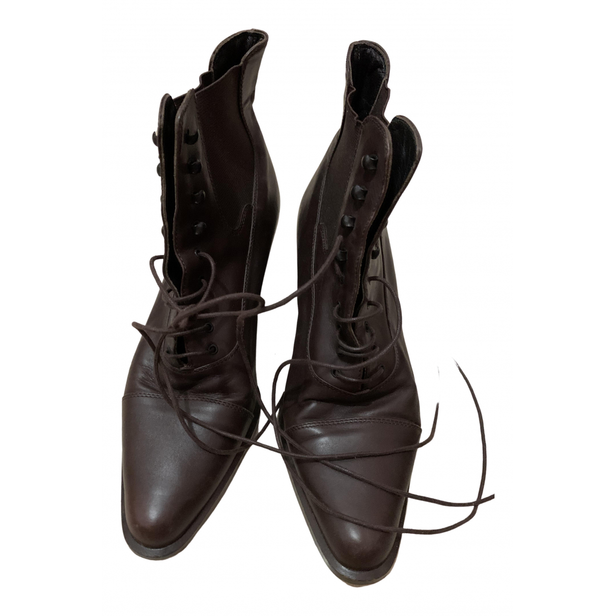 Prada Block Combat Brown Leather Ankle boots for Women 38 EU