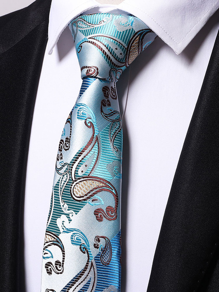 Milanoo Men Neck Tie Green Jacquard Casual Ties