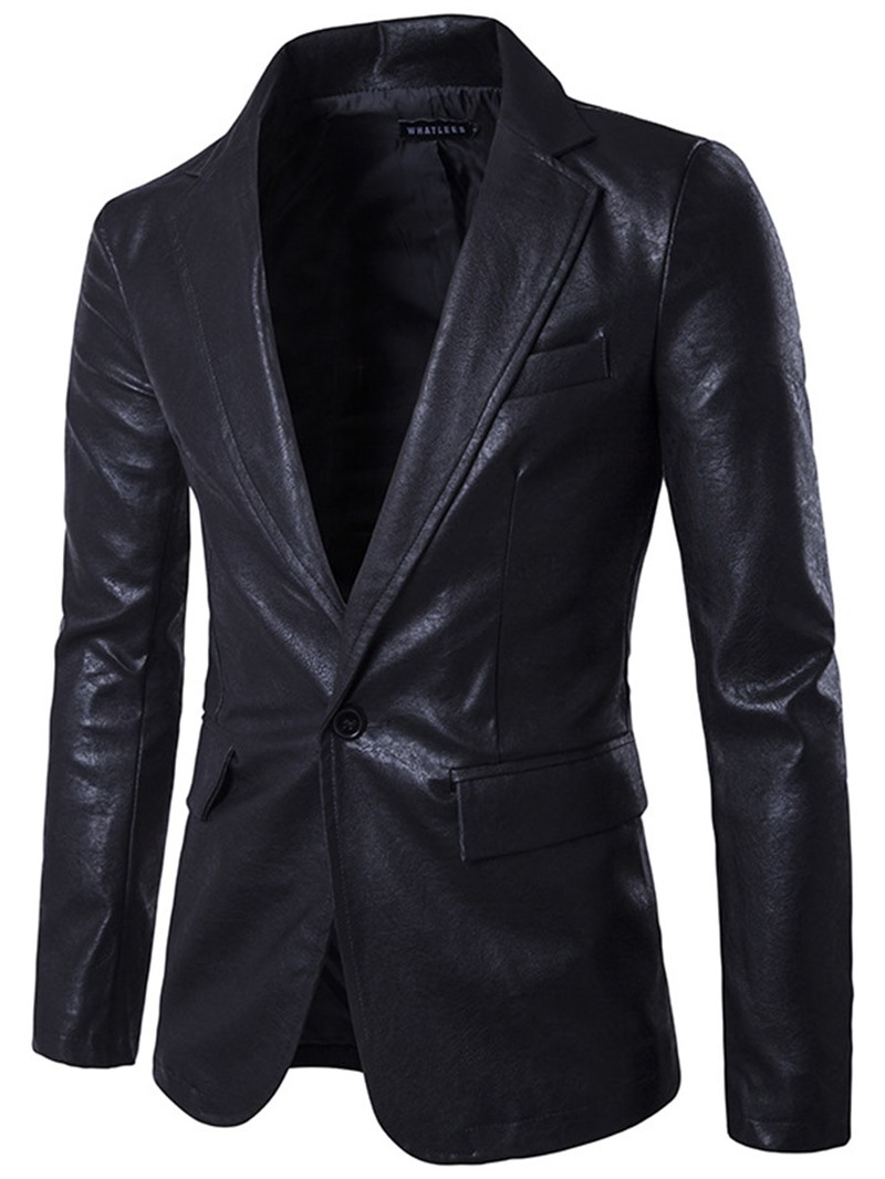 Ericdress One Button Vogue PU Slim Mens Blazer